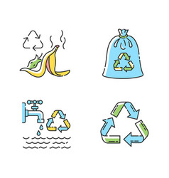 Zero waste rules rgb color icons set vector