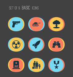 army icons set collection of glass missile vector image vector image