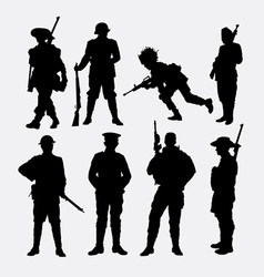 Army military soldier and police silhouette vector image vector image