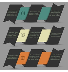 Black origami paper numbered banners vector image vector image