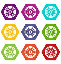 camera aperture icon set color hexahedron vector image