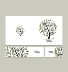 cards with business tree concept for your design vector image