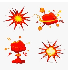 Comic Book Explosion Bombs And Blast Set vector image vector image