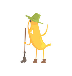 cute funny banana in green hat holding broom vector image