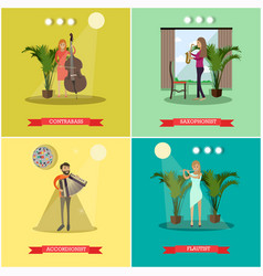 flat posters set with musicians playing vector image