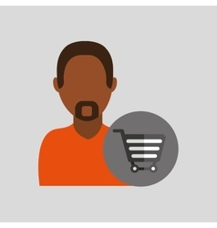 man african cart shop buy icon design graphic vector image