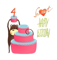 Monkey Cake Four Years Old with Happy Birthday vector image vector image