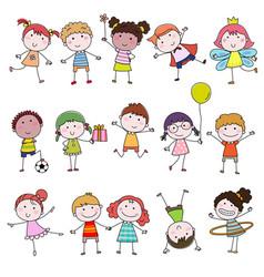 set of cute happy cartoon doodle kids hand-drawn vector image