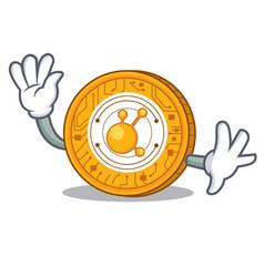 waving bitconnect coin character cartoon vector image vector image