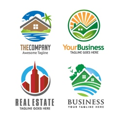 building house and real estate logo set vector image