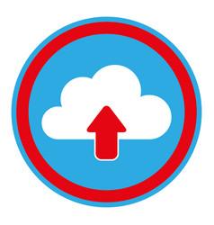 color circular emblem with cloud upload service vector image