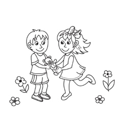 Hand drawn cute children with teddy bear vector