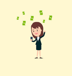 businesswoman use phone getting income vector image vector image