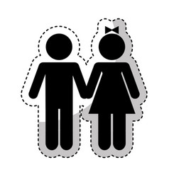 couple figure silhouette icon vector image vector image