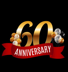 golden 60 years anniversary template with red vector image vector image