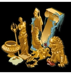 Golden Greek symbols statues of people vector image