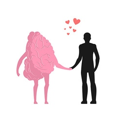 Love in human brain Man and mind Lovers holding vector image
