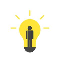 person idea and light bulb vector image