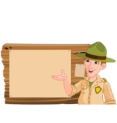 Ranger pointing at a wooden sign vector