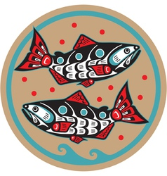 spawning salmon - native american style vector image