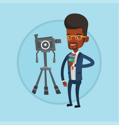 tv reporter with microphone and camera vector image vector image