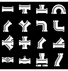white pipe fittings icon set vector image vector image