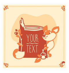 greeting card template with cute fox vector image