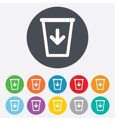 Send to the trash icon Recycle bin sign vector image