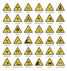 set of triangle yellow warning sign hazard dander vector image