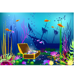 undersea with sunk ship and vector image vector image