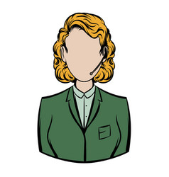 woman in a green blazer with headset icon cartoon vector image vector image