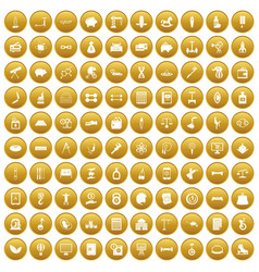 100 balance icons set gold vector