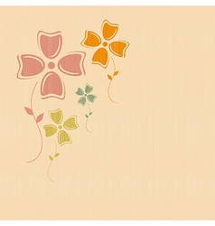 Abstract Retro Flowers on Paper Textile Background vector image