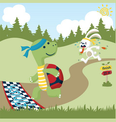 animals run race cartoon vector image