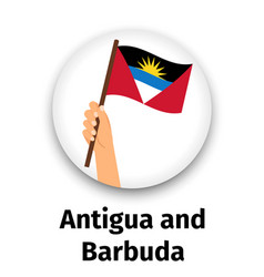 antigua and barbuda flag in hand vector image
