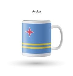 Aruba flag souvenir mug on white background vector