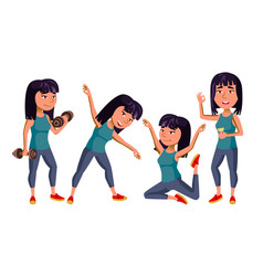 Asian girl set school child fitness vector