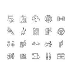 auto parts sales line icons signs set vector image