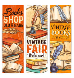 Bookshop sketch banner of old and rare book vector