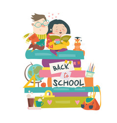 boy and girl sitting on piles books back to vector image