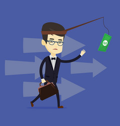 business man trying to catch money on fishing rod vector image