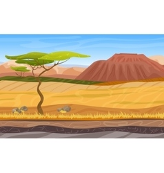 Cartoon african panorama savanna landscape vector