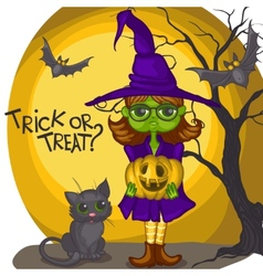 Cartoon Witch Girl With Bat Broom And Pumpkins vector image