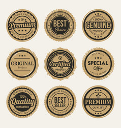 certified premium vintage badges and labels vector image