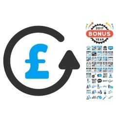 Chargeback Pound Icon With 2017 Year Bonus Symbols vector