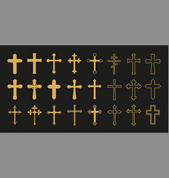 christian cross gold crosses simple decorative vector image
