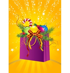 christmas gift bag vector image