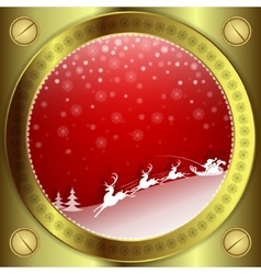 Christmas red design with gold frame vector