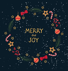 christmas wreath template and lettering merry ang vector image