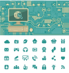 Circuit Board with a Computer and Web Icons vector